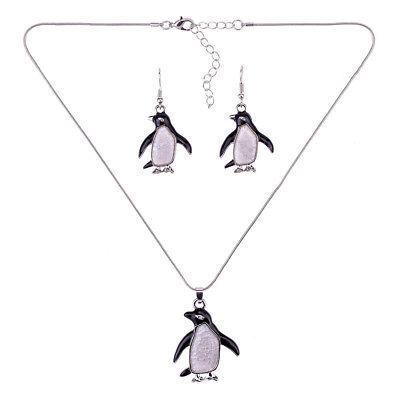 Schmuckset Ohrringe Anhänger mit Halskette Emaillierter Pinguine mit Kette