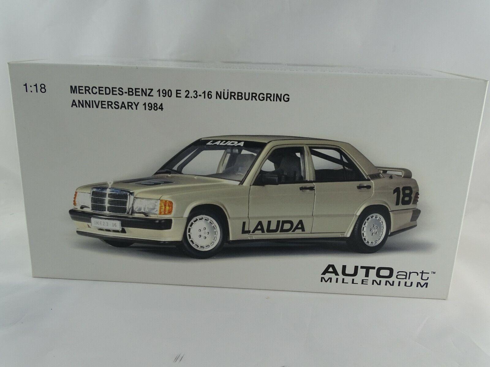 1:18 Autoart 88431 Mercedes-Benz 190 e 2.3-16 Nürburgring 1984 Lauda Raro #18 $