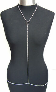 A-Stunning-Silver-Tone-Cross-Body-Belly-Harness-Slave-Chain-Necklace-with-Ring