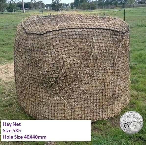 LARGE  Slow-Feeder-Hay-Net-Bag-5x5-Round-Bale-Steady Horse Hay Net 40X40 Durable  more discount