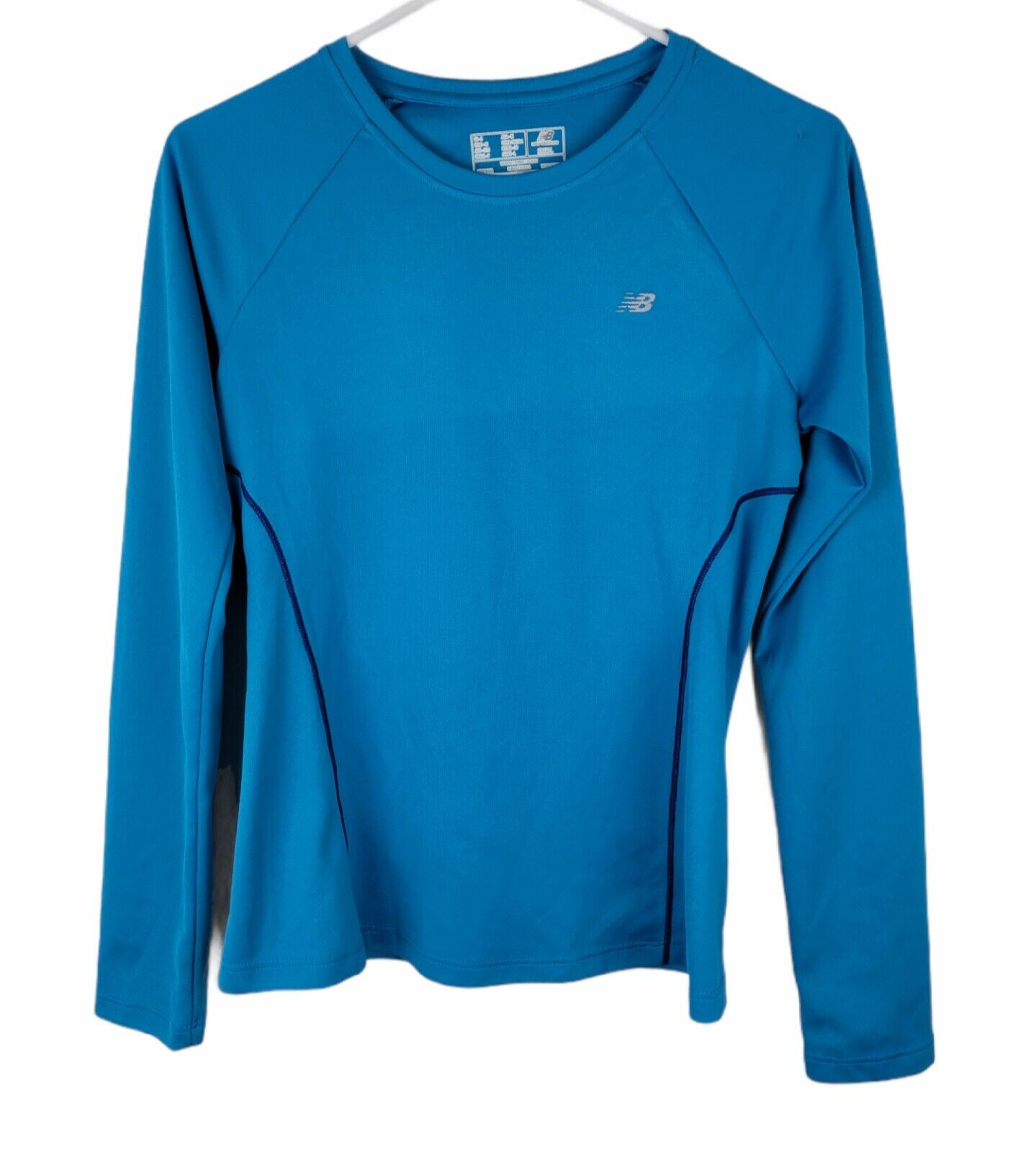 New Balance Size S Women's Running T Shirt Long Sleeves Blue Stretch Made in USA