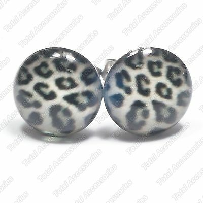 Grey Leopard Print Stainless Steel Stud Earrings - Mens Womens Fashion - New