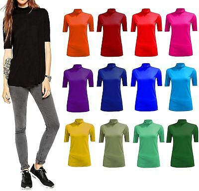 Genereus Womens Polo Roll Neck Jumper 3/4 Sleeves Top Ladies Turtle Neck Top Shirt Tees