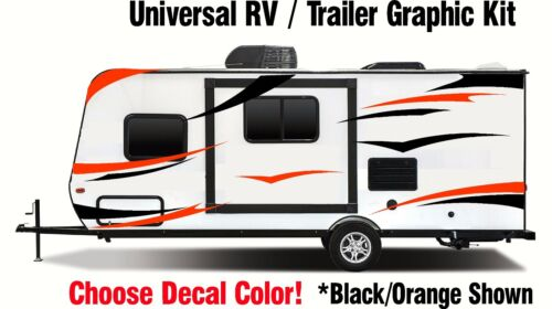 RV Graphic Kit Black Orange vinyl sticker decal stripes Toy Hauler Trailer sxs