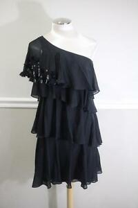 REBECCA-TAYLOR-women-039-s-black-ruffled-one-shoulder-dress-size-6-DR100