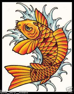 Japanese tribal koi fish orange gold carp good luck for Koi fish good luck