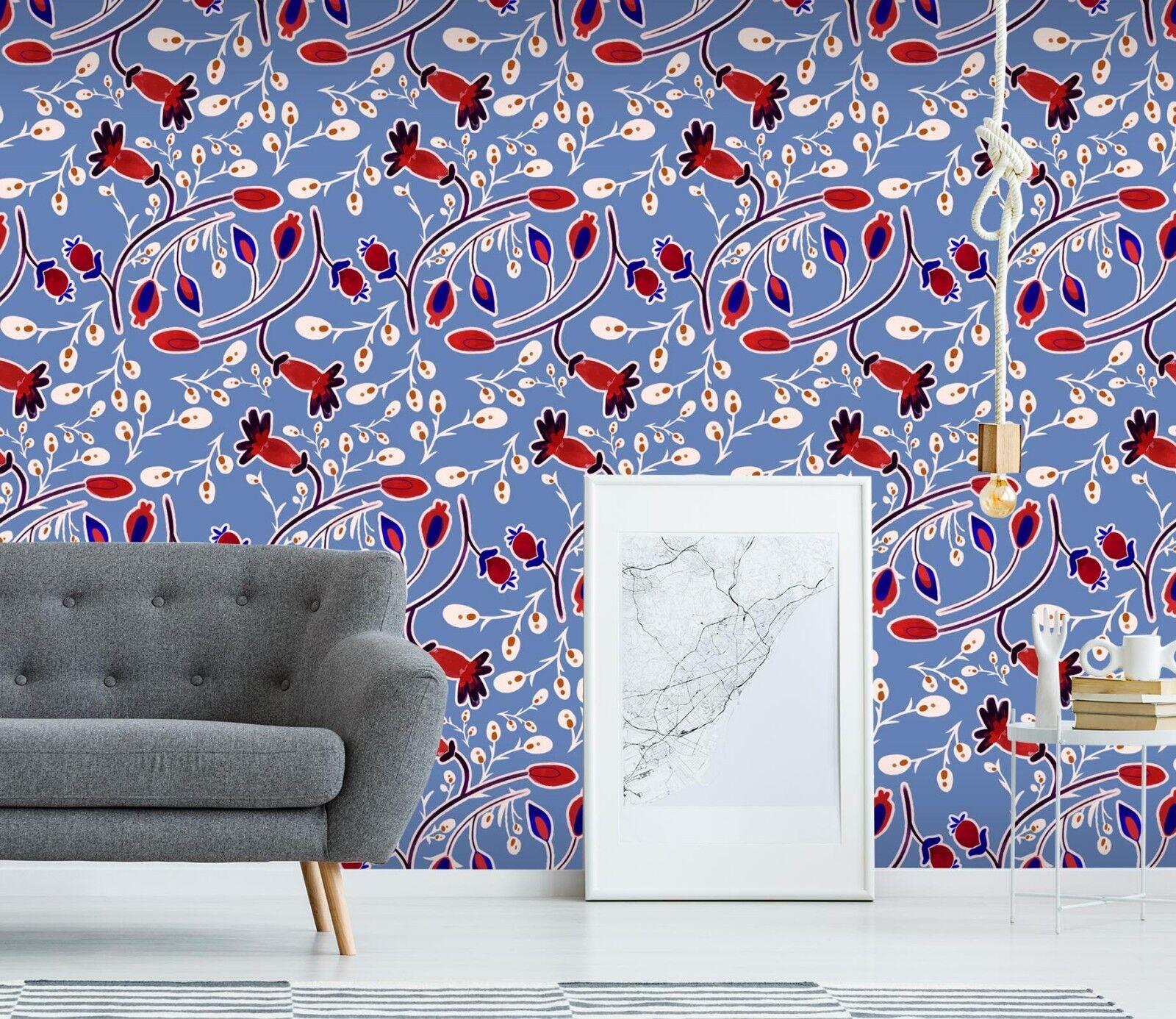 3D bluee Red Plant 3 Wallpaper Mural Print Wall Indoor Wallpaper Murals UK Lemon