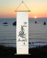 Fu Dragon Wall Hanging Raw Silk Good Luck Banner