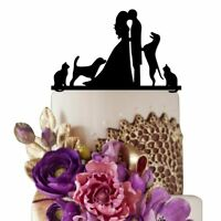 Sugar Yeti Made In Usa Wedding Cake Topper Bride Kissing Groom With Cat And Dog
