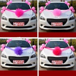 Cars Wedding Decoration Kit Organza Flower Ball Ribbon Bows Balloon on