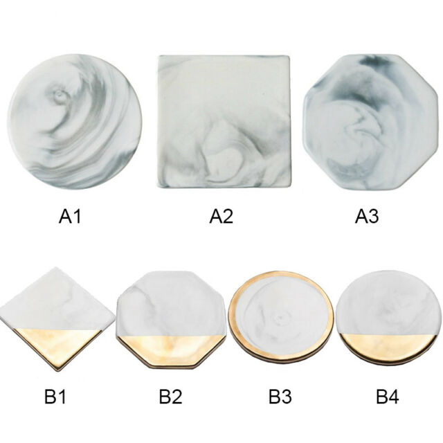 Marble Ceramic Texture Drink Coffee Tea Cup Coaster Mat Anti-Slip Round Square