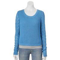 Lauren Conrad Cornflower Blue Crochet Sleeve Cropped Crew Sweater Size S M L Xl