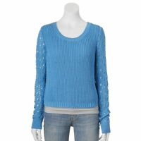 Lauren Conrad Cornflower Blue Crochet Sleeve Cropped Crew Sweater Size S M L Xl