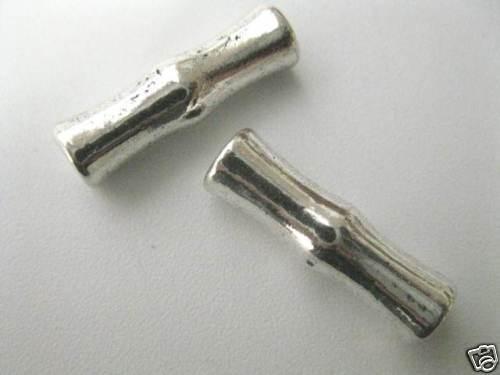 2 Metallperlen Röhrchen 23x6mm neu Perlen Kugeln 4848