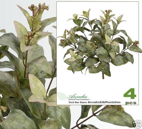 "FOUR 15/"" Magnolia Leaf Bush Berries Silk Plant 242S Ivy"