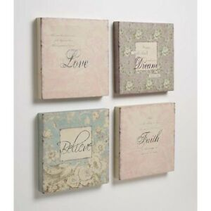 VINTAGE-SHABBY-STYLE-CANVAS-PICTURES-X-SET-OF-4