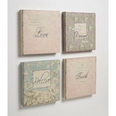VINTAGE SHABBY STYLE CANVAS PICTURES X SET OF 4 - BRAND NEW