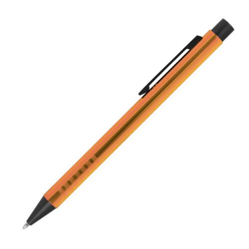 Farbe orange Kugelschreiber aus Metall mit Gravur