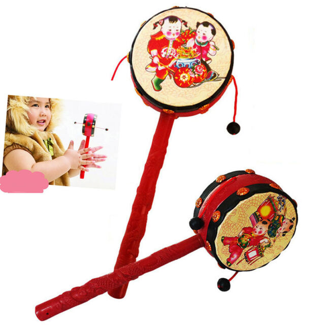 Chinese Child Hand Shake Rattle Pellet Drum Toy Baby Musical Instrument  ME