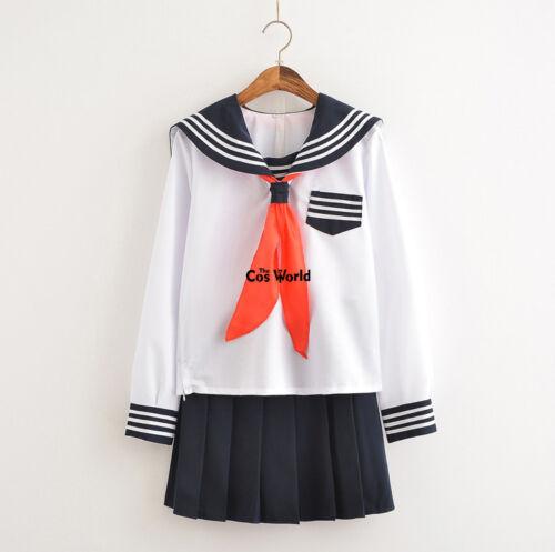 Jigoku Shoujo Enma Ai Sailor Suit School Uniform Tops Skirts Cosplay Costumes