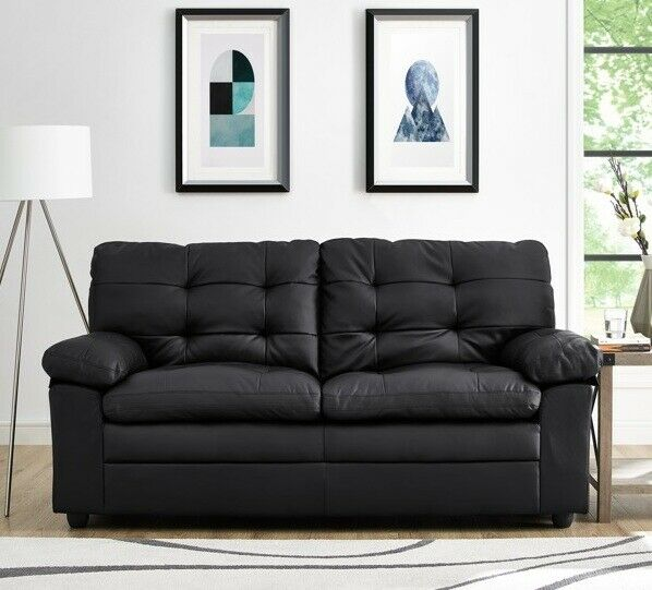Black Tufted Leather Sofa Apartment Sofas Couches Living Room Furniture  Couch