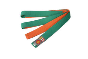 "Ju-Sports Budo-Gürtel ""Two-Tone"" orange/grün Karate Judo - Ju-Jutsu - Taekwondo"