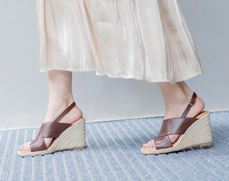 Women Peep Toe Mule Slingback Strap Platform Wedge Heel shoes Sandal Size 4.5-8