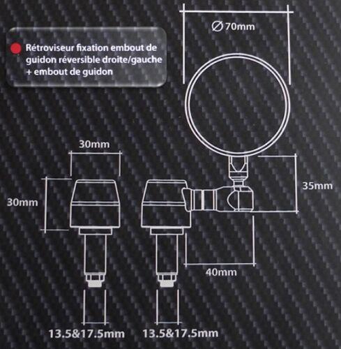 TRACKER... CAFÉ RACER EMBOUT DE GUIDON RÉTROVISEUR BOUT DE GUIDON NOIR