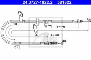 Seilzug Feststellbremse für Bremsanlage Hinterachse ATE 24.3727-1822.2