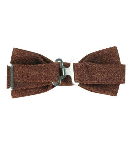 Mens Kids Boys Matching Herringbone Tweed Dickie Bow Tie in Cinnamon Brown