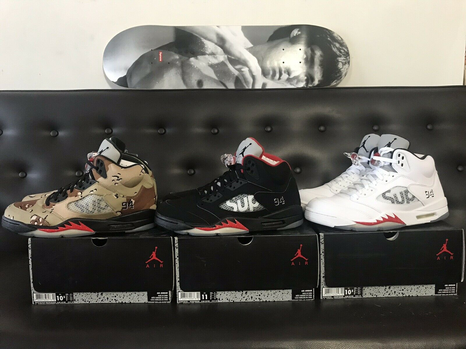 NEW DS SUPREME x AIR JORDAN RETRO V 5 FULL SET OF 3 SIZE 10.5 & 11 WITH RECEIPTS