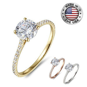 9a54f05615538 Details about 1Ct Halo Solitaire Cubic Zirconia Promise Engagement Ring in  14K GOLD WHITE ROSE