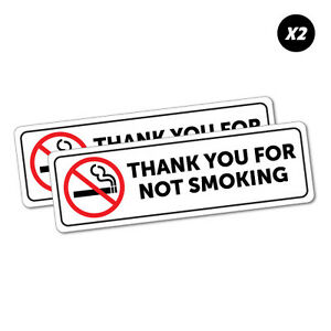 pack of 2 Self adhesive stickers THANK YOU FOR NOT SMOKING