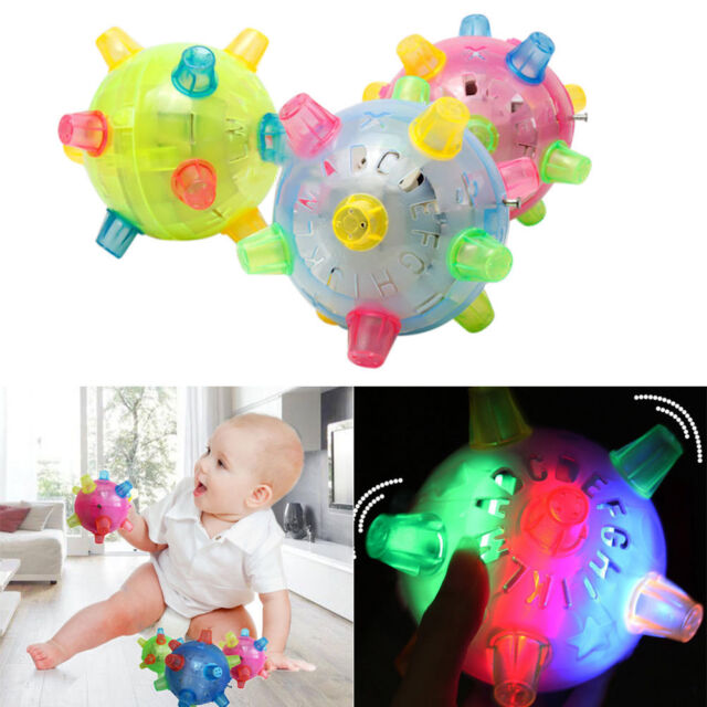 Baby Kids Classic Toy Jumping Flashing Light Up Bopper Vibrating Sound Ball  FN