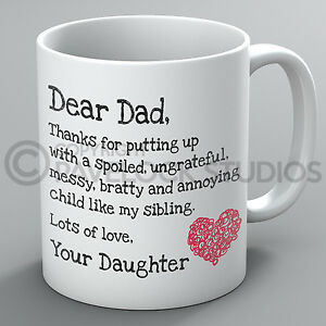 Image Is Loading Father 039 S Day Mug Dear Dad Love