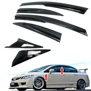 Combo For Honda Civic 8th 4DR Mugen Window Side Rain Visor + Window Louver Visor