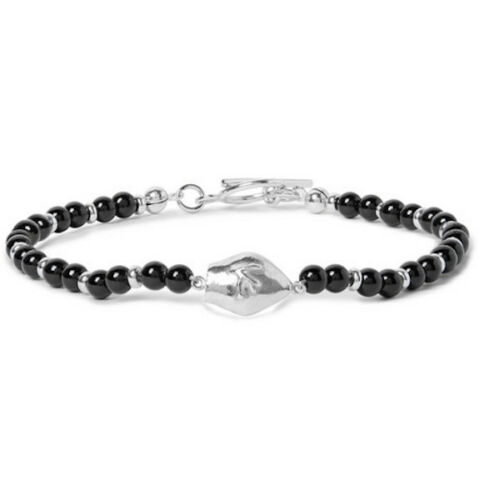NEW ISAIA San Gennaro Silver-Tone And Onyx Bracelet one size black made in italy
