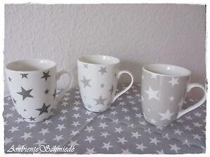 Tasse Becher STERNE grau weiß Porzellan Kaffetasse Kaffeebecher Vintage