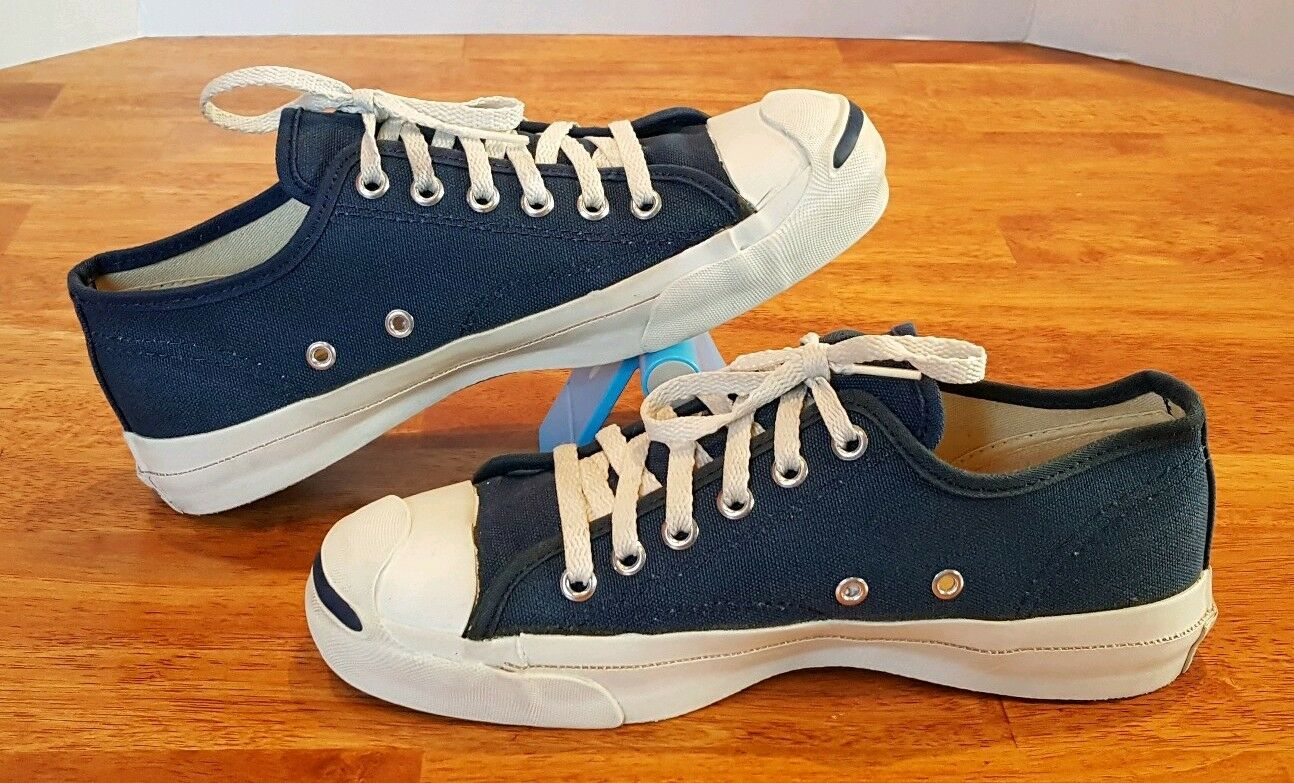 Vintage CONVERSE JACK PURCELL Canvas Low Sneakers Navy bluee, USA Made Sz 6 Mens