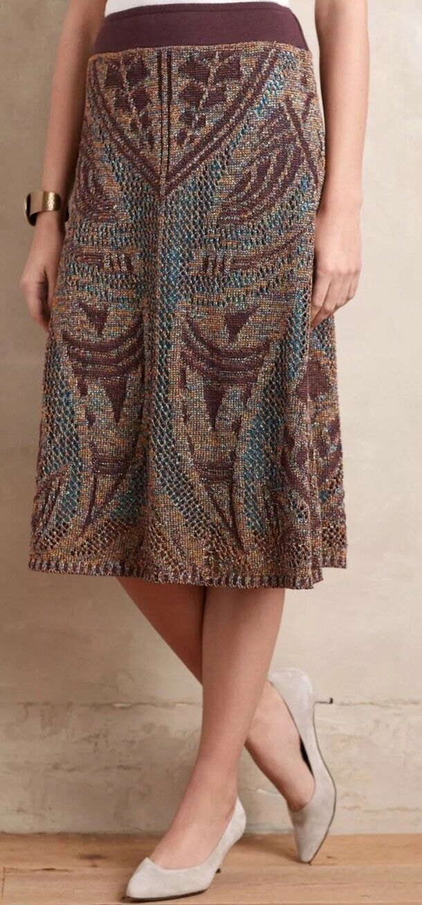 Anthropologie Mandala Geo Lumi Midi Sweater Skirt M  198 Cecilia Prado