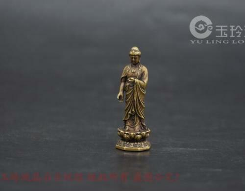 Collection old Asian brass Buddha Chinese archaize pure small statue