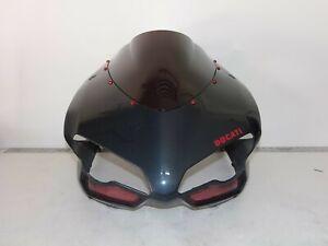 Ducati-07-14-848-1098-1198-Upper-Fairing-HEADLIGHT-Cowling-USED-BLACK-CHARCOAL