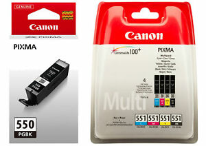 Details about Set of Canon PGI-550 CLI-551 Genuine Original Ink Cartridges  PGBK-BK-C-M-Y OEM