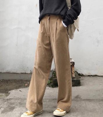 Dark gray women corduroy pants plus size crop straight pants casual style