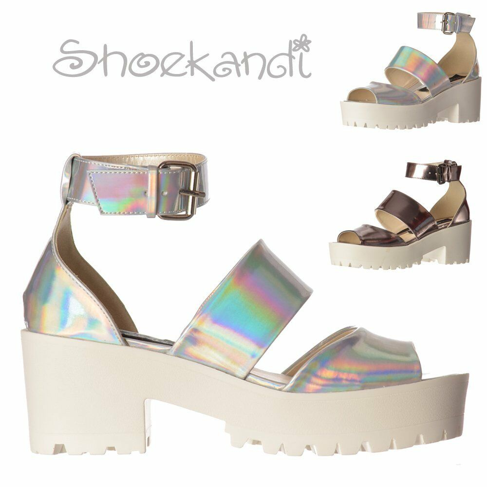 Womens Summer Sandals Cleated Sole Low Block Heel Ankle Strap Silver Hologram