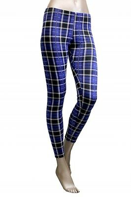 New Blue Plaid Tartan Check Preppy Women Fashion Print Leggings Tight Pants USA