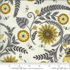Deb Strain Novelty Fabric Botanical Sketch Black on Gray Grey Quilt Fabric 9794 15 Moda Fabric Bee Inspired Fabric Half Yard