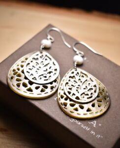 Silpada-Carved-Shell-Pearl-Sterling-Silver-Teardrop-Earrings-W1525-Filigree