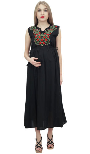 Bimba Moms Maternity Dress Cotton Embroidered Black Nursing Maxi Sleepwear
