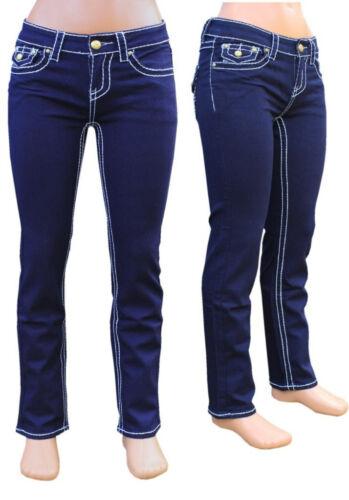 Damen Stretch Röhren Jeans schwarz blau dicke Nähte Hüftjeans Hüfthose